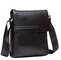 Черная мужская сумка из натуральной кожи с наплечным ремнем TIDING BAG (M6068A)