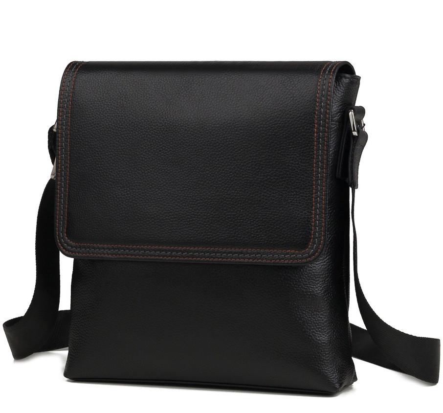Стильная мужская сумка Мессенджер из натуральной кожи высокого качества в черном цвете TIDING BAG M9806-1A