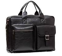 Классическая мужская деловая сумка Blamont из натуральной кожи в черном цвете (Bn058A)