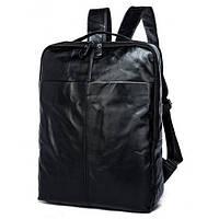 Черный стильный кожаный рюкзак TIDING BAG превосходного качества (7280A)