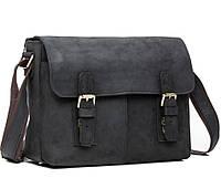 Горизонтальный мужской мессенджер  из натуральной кожи в черном винтажном стиле TIDING BAG (G8850A)