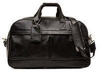 Компактная дорожная сумка Tiding Bag в черном цвете из натуральной кожи (G9652A)