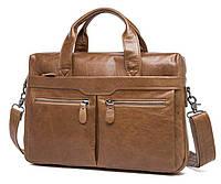 Классическая мужская сумка Jasper&Maine из натуральной кожи с ручками и наплечным ремнем (7122LB)