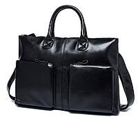 Классическая мужская сумка из натуральной кожи в черном цвете TIDING BAG (7241A)
