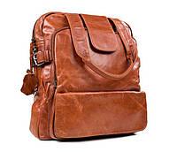 Рыжий рюкзак-сумка кожаный TIDING BAG (7065LB)