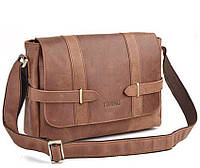 Деловая мужская сумка почтальйонка из натуральной кожи в коричневом цветеTiding Bag (T1045)