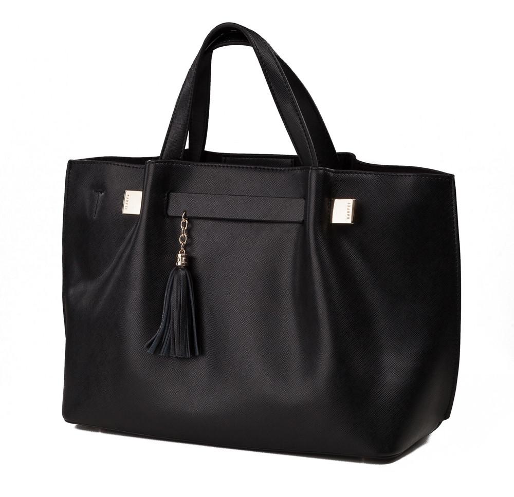 2bc173a0a535 Черная кожаная женская сумка Karfei с кисточкой (1711139-04A ...