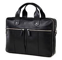 Деловая сумка для документов и ноутбука Blamont в черном цвете с наплечным ремнем (Bn109AI)
