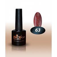 Гель-лак Nice for you № 63 полупрозрачный, с оттенком жженого сахара с блестками 8,5 мл