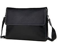 Горизонтальная сумка Мессенджер из натуральной кожи в черном цвете с наплечным ремнем Tiding Bag (M685-3A)
