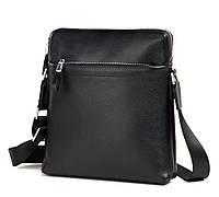 Мужская наплечная сумка планшет из натуральной кожи в черном цвете Tiding Bag (M1808-1A)