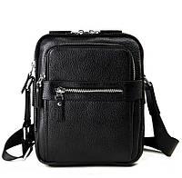 Вместительная мужская сумка компактных размеров в черном цвете Tiding Bag (M5610A)