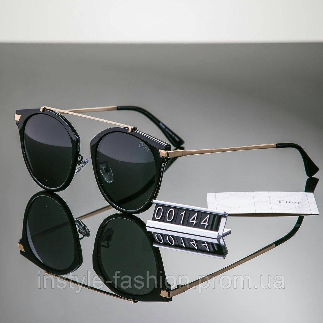 Женские очки брендовые Polaroid копия Диор черные