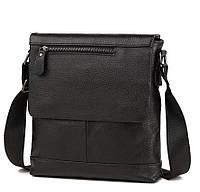 Мужская сумка почтальонка в черном цвете и натуральной коже (M38-8146A)