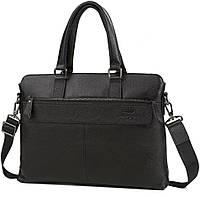 Классическая Сумка из натуральной кожи для ноутбука черный цвет высокое качество Tiding Bag (M38-6901-3A)