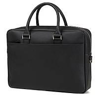 Горизонтальная деловая сумка для мужчин Blamont в черном цвете из натуральной кожи, вмещает ноутбук (Bn106AB)