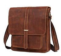 Стильная наплечная мужская сумка месенджер  для мужчин, натуральная кожа винтажный коричневый Tiding (G2093B)