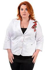Женский пиджак с вышивкой большие размеры 50- 60