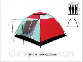 Палатка туристическая 3-х местная.С козырьком.( 2,0 х 2,0 х 1,35м.) Распродажа!
