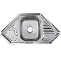 Мойка кухонная врезная угловая трапеция 95*50 см декор 0,8 мм глубиной 18 см оптом