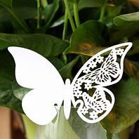 Рассадочные карточки - декор для бокала «Бабочка» белая