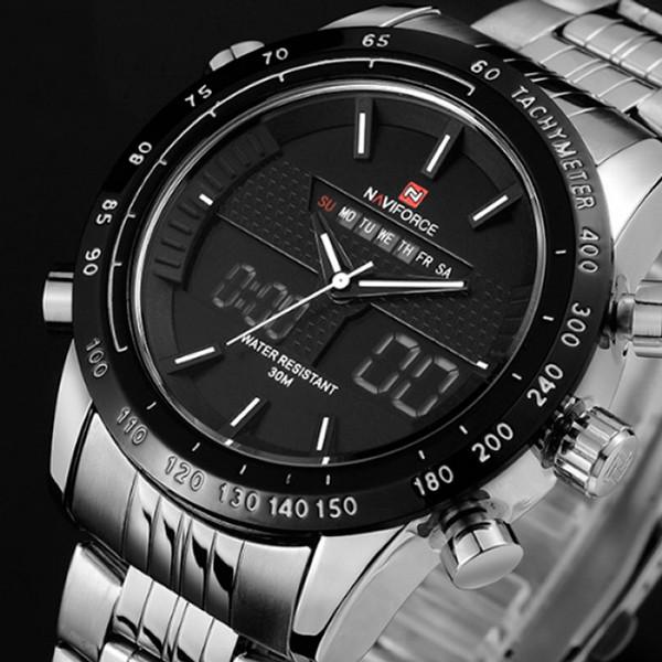 Мужские часы Naviforce Army Silver 9024