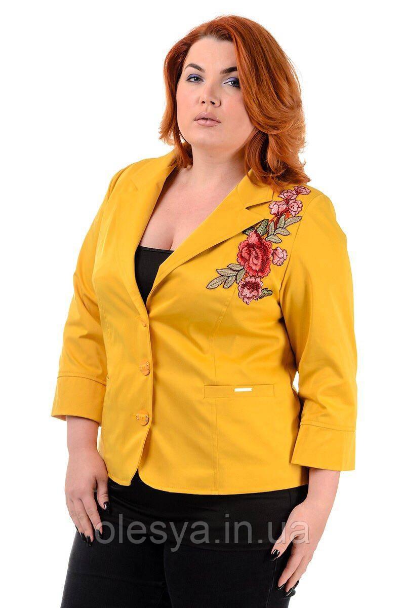 Женский пиджак с вышивкой большие размеры 48-60