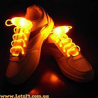 Светящиеся шнурки для обуви (оранжевые, LED) + батарейки CR2032 в подарок