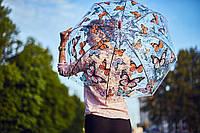"""Прозрачный зонтик трость с бабочками по куполу от фирмы """"Swifts"""""""