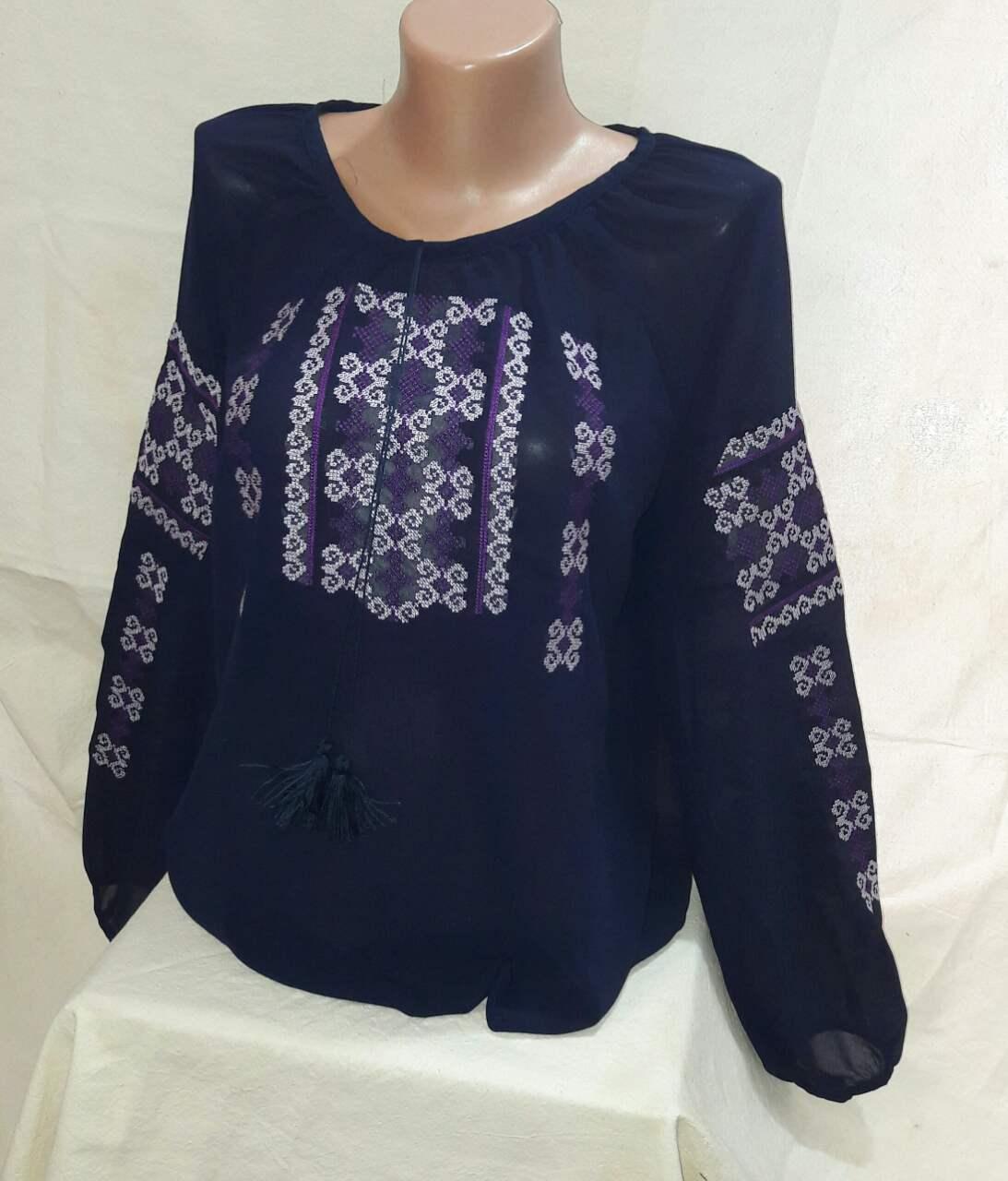 Женская вышитая шифоновая блуза Орнамент