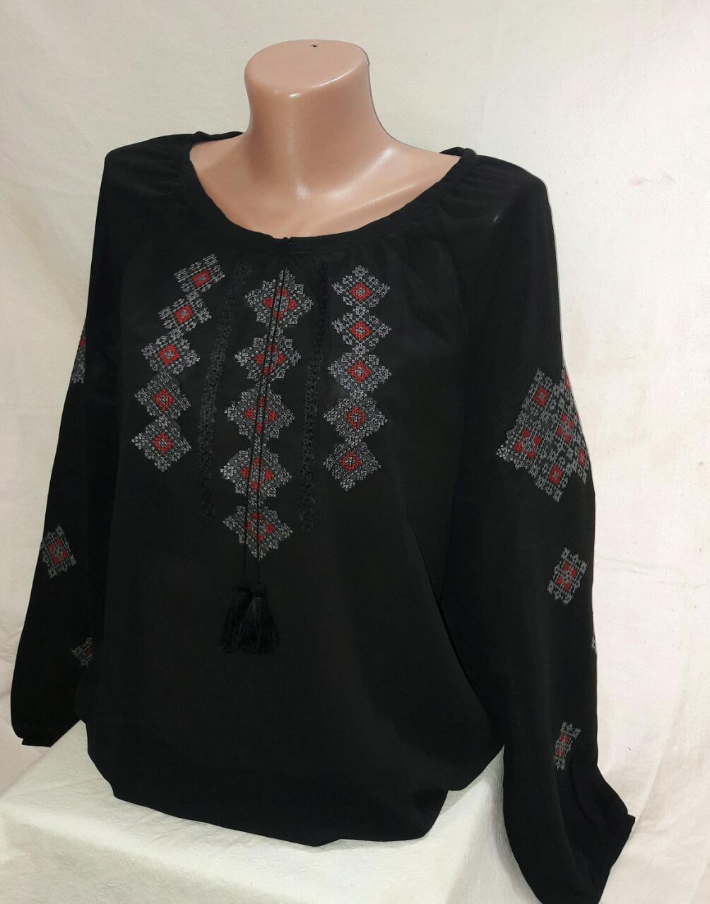 Женская вышитая шифоновая блуза батал
