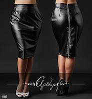 Кожанная юбка карандаш черная