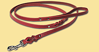 Длинный поводок для собак 1,9м/10мм, красный, натуральная кожа