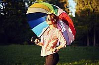 """Зонт трость радуга на 16 спиц """"анти-ветер"""" от фирмы """"MONSOON."""""""