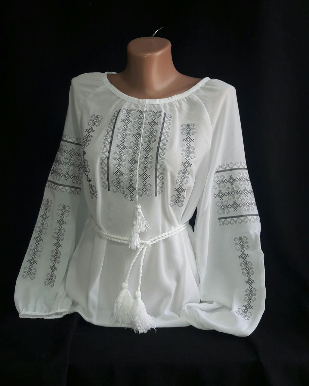 Шифоновая вышитая женская блуза