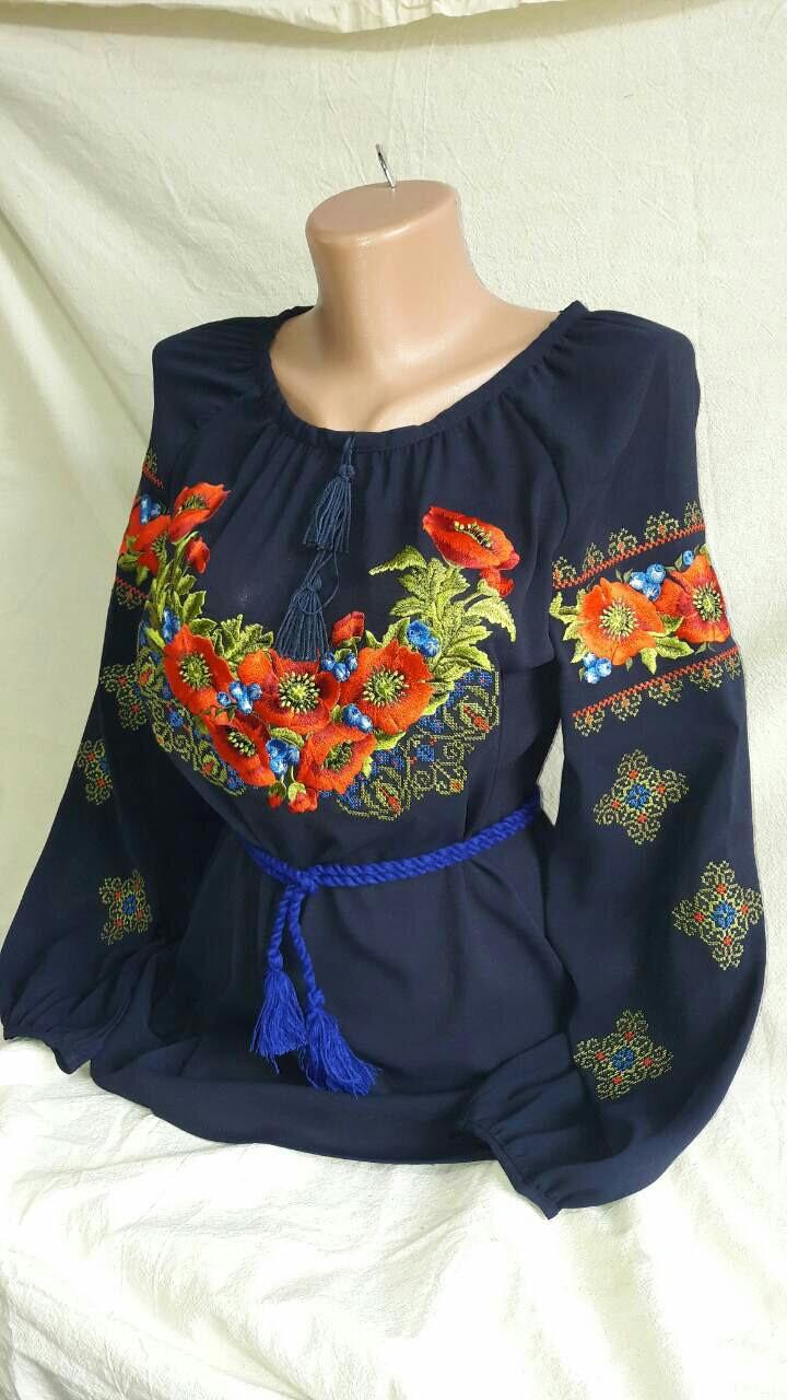 Женская вышитая блуза шифон (рр.42-58)