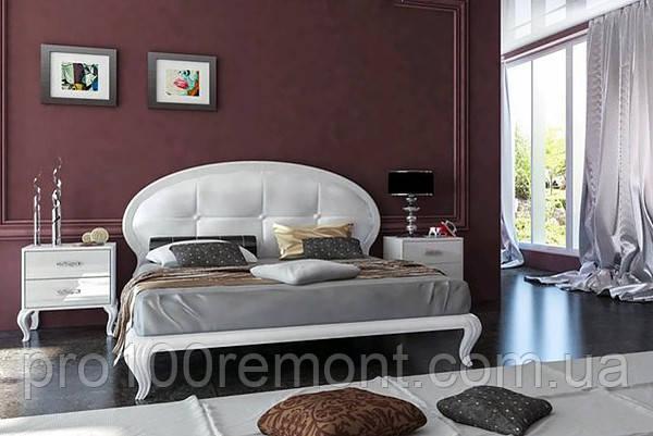 Кровать ИМПЕРИЯ белый глянец 1.6 с мягкой спинкой от Миро-Марк, фото 2