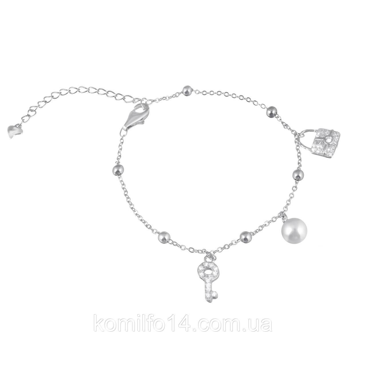 Женский серебряный браслет на ногу с подвесками