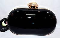 Женский черный клатч на цепочке