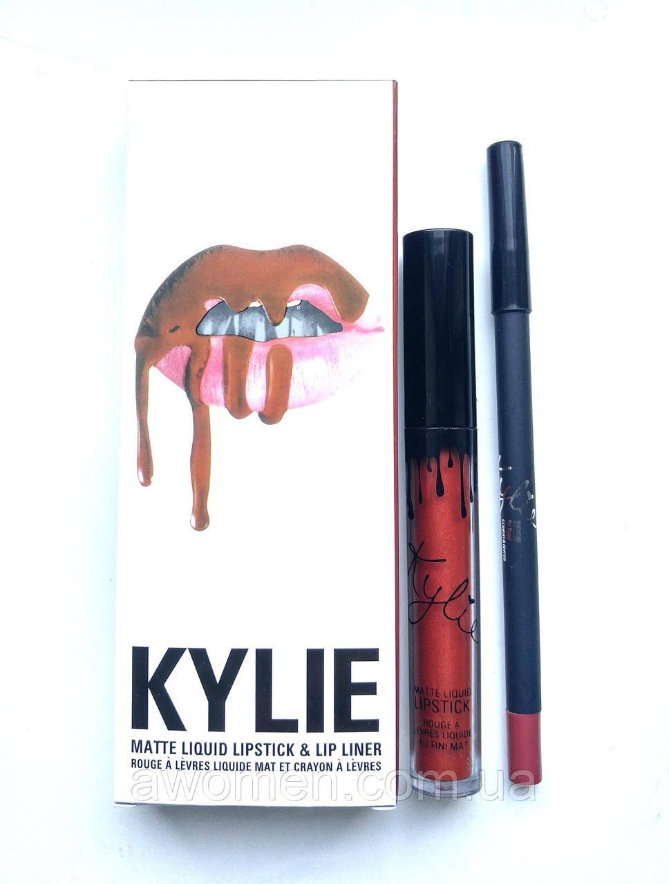 Матовая жидкая помада KYLIE для губ + карандаш Matte (Reign)
