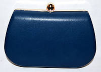 Женский синий клатч на цепочке