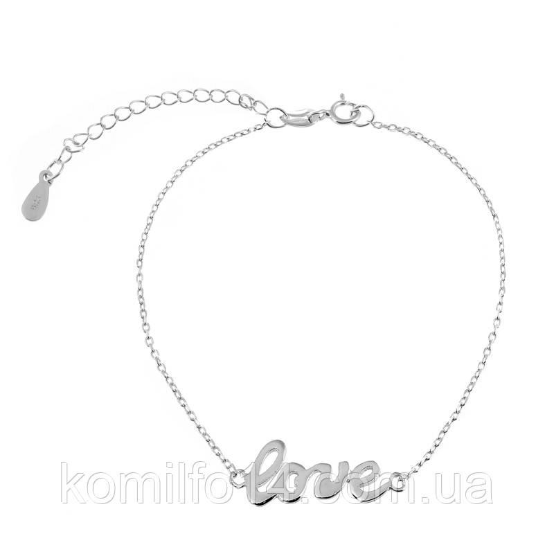 """Женский серебряный браслет на ногу """"Love"""""""