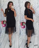 Модное чёрное платье с фатином сеткой брошь вишенки S M L