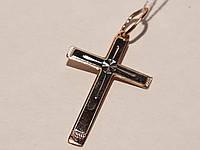 Золотой крестик с алмазной гранью. Спаси и сохрани. Артикул 115-А НВо