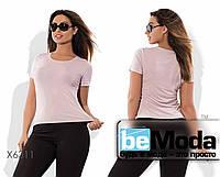 Удобная женская футболка простого кроя из вискозы светло-розовая