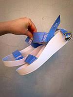 Женские босоножки Leto, натуральный лак + кожа, голубые / босоножки для девочек Лето, модные