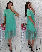 Модное платье с фатином сеткой цвета мята и брошь вишенки S M L