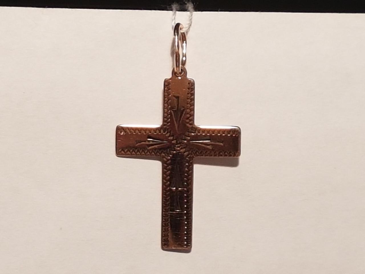 Золотой крестик с алмазной гранью. Спаси и сохрани. Артикул 11498-ЧР/1