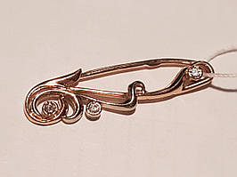 Золотая брошь с фианитами. Артикул 3583354