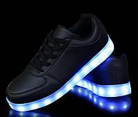 """LED Кроссовки """"Черные"""" со Светящиеся подошвой"""